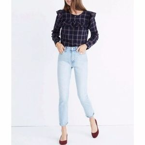 Madewell Plaid Navy burgundy ruffle York blouse